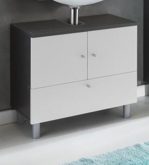 Bad-Unterschrank Waschbeckenunterschrank Waschtischunterschrank graphit-weiss - (3514)