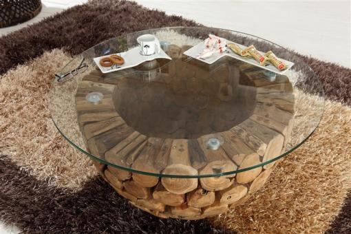 Couchtisch Beistelltisch mit Glasplatte aus Mosaik-Altholz - (1049)