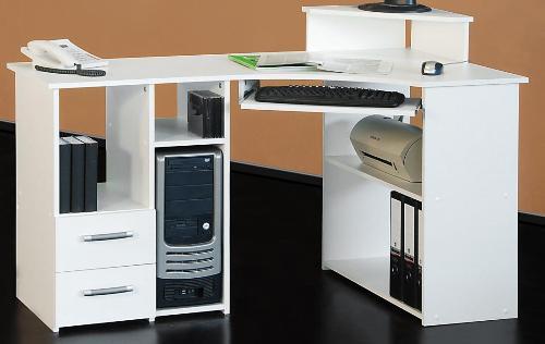 Eckschreibtisch weiss PC Tisch Eck-Schreibtisch weiß - (715)