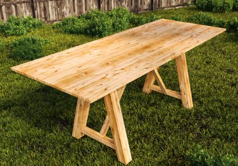 Gartentisch 100x180 großer Esstisch Lärche Speisetisch für drinnen und draussen - (3039)