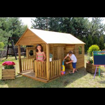 Kinderspielhaus Spielhaus Holz-Gartenhaus Spielhütte aus Holz für Kinder - (3996)