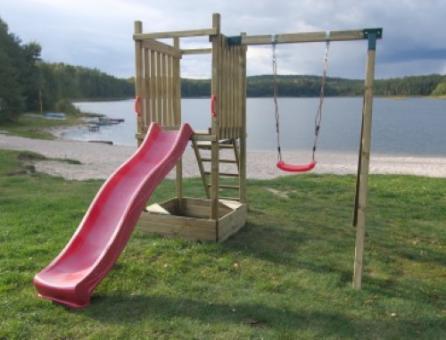 Kletterturm Holzturm Spielturm für Kinder mit Rutsche Sandkasten Schaukel - (4008)