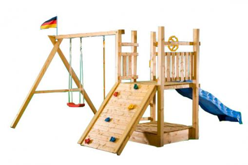kletterturm holzturm spielturm f r kinder mit sandkasten und schaukel 3371 im m bel. Black Bedroom Furniture Sets. Home Design Ideas