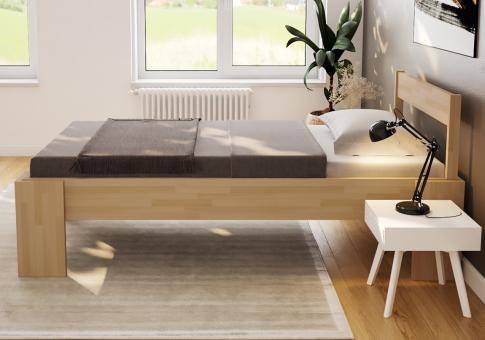 Komfortbett 100x200 erhöhtes Einzelbett Buche Seniorenbett Hotelbett Holzbett Bett - (4128)