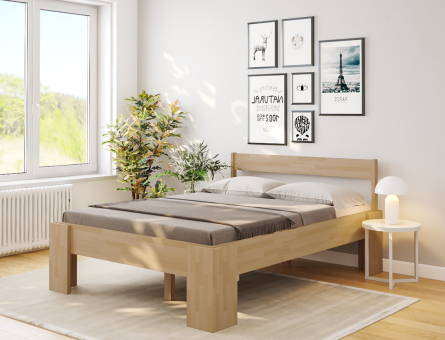 Komfortbett 140x200 erhöhtes Bett Buche massiv Hotelbett Holzbett - (4129)