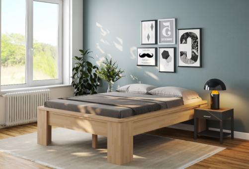 Komfortbett 200x210 erhöhtes Bett Buche Hotelbett Holzbett Komforthöhe - (4146)