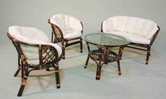 Rattan-Sitzgruppe braun gebeizt echt Rattan 2 Sessel 1 Bank 1 Tisch - (3568)