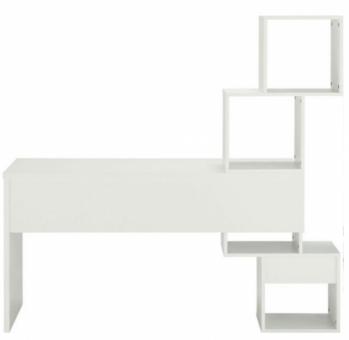 Schreibtisch mit 4 offenen Fächern Bürotisch Arbeitstisch weiss - (4187)