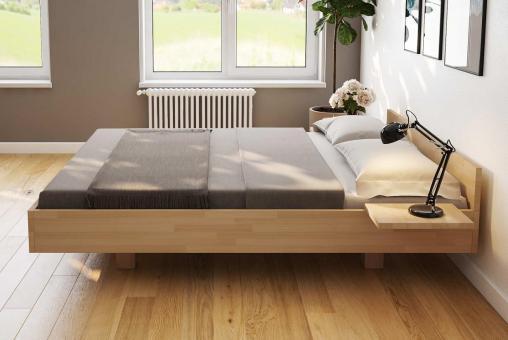 Schwebebett Buche Doppelbett Holz-Bett in schwebender Optik 160x200 - (4220)