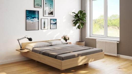 Schwebebett Buche Doppelbett Holz-Bett in schwebender Optik 200x200 - (4223)