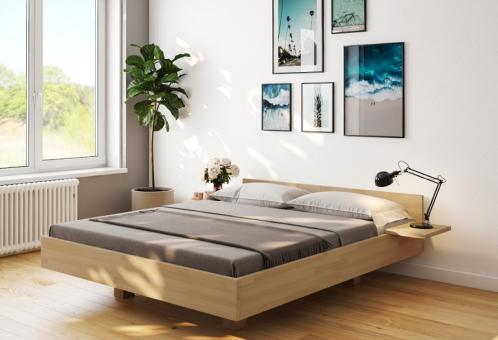 Schwebebett Buche Doppelbett Holz-Bett in schwebender Optik Sondermass180x210 - (4222)