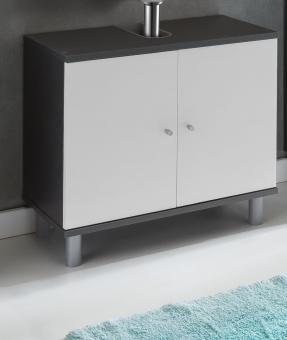 Waschbeckenunterschrank weiss graphit Waschtisch-Unterschrank graphit weiss - (3518)