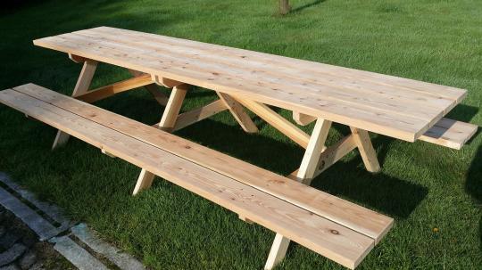große Garten-Sitzgruppe für 12 Personen aus Lärche rustikale Sitzgruppe für drinnen oder draussen - (3034)