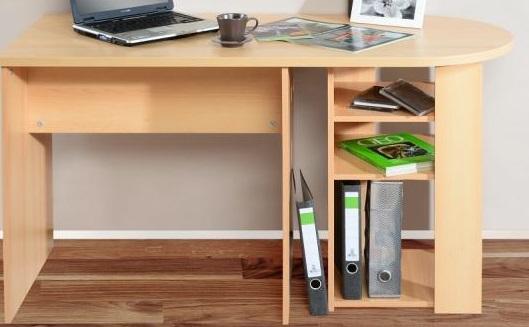 Schreibtisch mit gerundeter tischplatte for Schreibtisch buche dekor