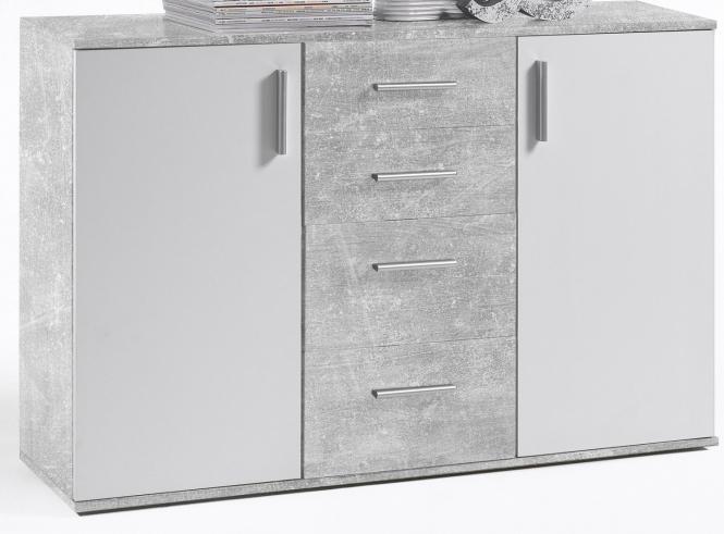 Anrichte Schubladen Kommode Weiss Grau Gescheckt Dekor Sideboard