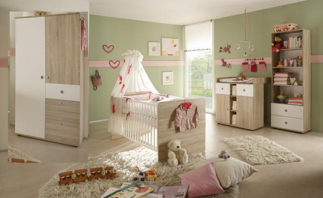 Babyzimmer Kinderzimmer Eiche Sonoma Weiss Kleiderschrank Babybett Wickelkommode 3442