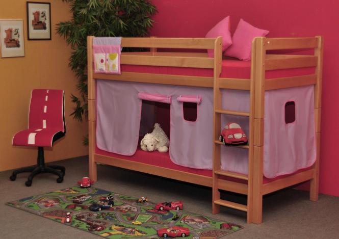 Etagenbett Mädchen : Etagenbett buche natur für mädchen mit lila rosa vorhang 570