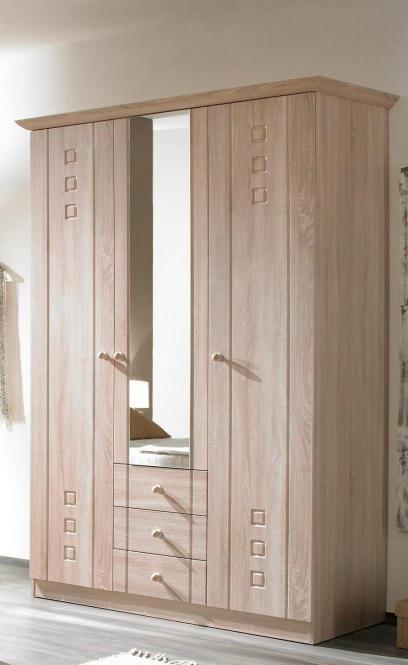 rauch kleiderschrank mit spiegel 5 trig 2 schubladen eiche sonoma absetzung lavagrau. Black Bedroom Furniture Sets. Home Design Ideas