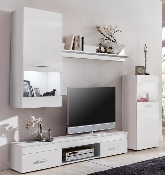 moderne Wohnwand in weiss dekor - Wohnzimmerschrank weiss dekor ...