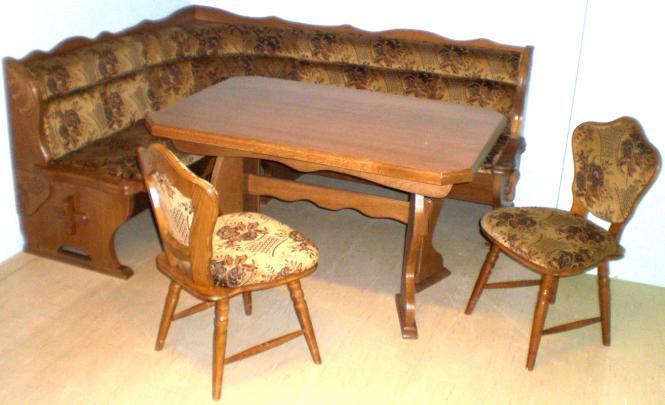 Eckbankgruppe Eiche rustikal P43 Kücheneckbank ausziehbarer Tisch, 2 Stühle  - (2184)